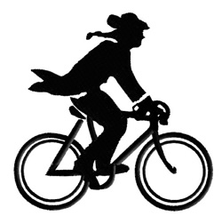 Minuteman on bicycle embroidery design