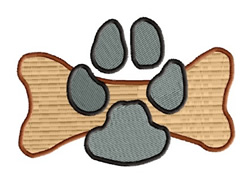 Dog Paw on Bone embroidery design