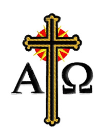 Cross and Alpha Omega embroidery design