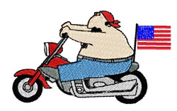 Patriotic Dude on Motorbike embroidery design