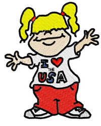 Patriotic Girl embroidery design