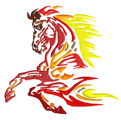 Flame Jumping Horse embroidery design