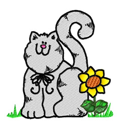 Cat and Sunflower embroidery design