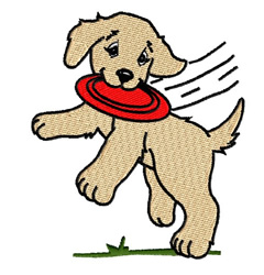 Puppy Catching Frisbee embroidery design
