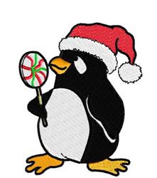 Penguin with Santa Hat and Lollipop embroidery design
