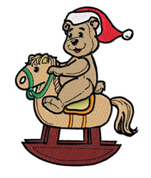 Teddy with Santa Hat on Rocking Horse embroidery design