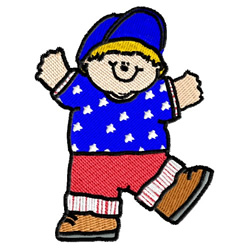 Boy in Stars and Stripes embroidery design