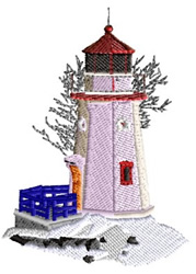 Lighthouse in the Winter embroidery design