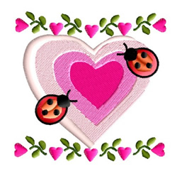 Heart with Ladybugs embroidery design