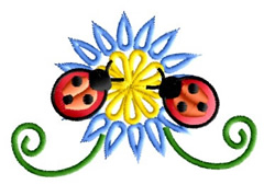 Two Ladybugs on a Flower embroidery design