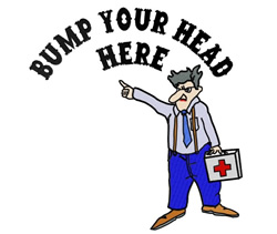 Bump Your Head Here embroidery design