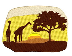African Scene with Giraffes embroidery design