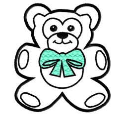 Teddy Bear with Bow Outline embroidery design