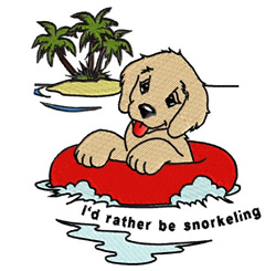 Id rather be snorkeling embroidery design