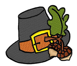 Pilgrim Hat with Acorns embroidery design