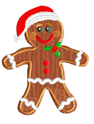 Gingerbread Man with Santa Hat embroidery design