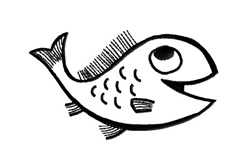 Happy Fish Outline embroidery design