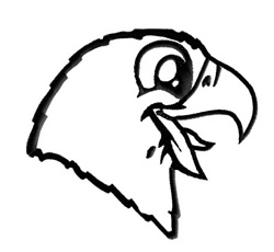 Hawk Mascot Outline embroidery design