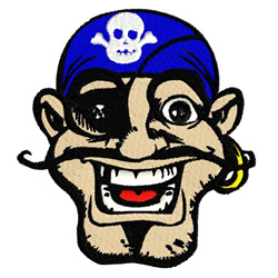 Pirate Mascot with Skull embroidery design