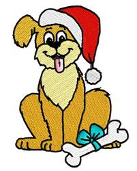 Dog Wearing Santa Hat embroidery design