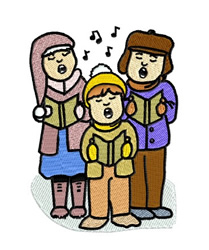 Christmas Carollers embroidery design