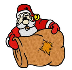 Santa Shows a Patch embroidery design
