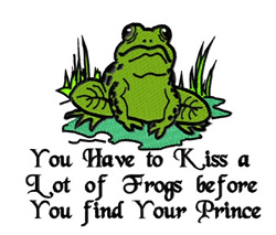 Frog You Have to Kiss embroidery design