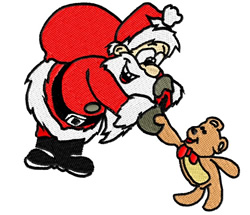 Santa and Teddy embroidery design