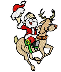 Santa Riding on Rudolf embroidery design