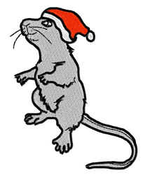 Mouse with Santa Hat embroidery design