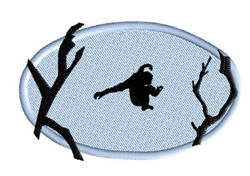 Ape Leaping from Tree embroidery design