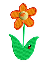 Flower with Ladybug embroidery design