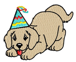 Puppy Wearing Party Hat embroidery design