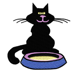 Cat Sitting By Food embroidery design