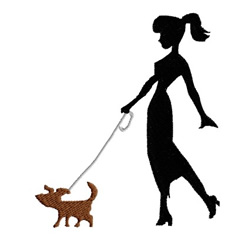 Lady Walking A Dog embroidery design