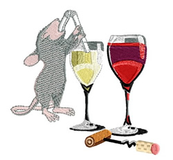 Mouse At Wine tasting embroidery design