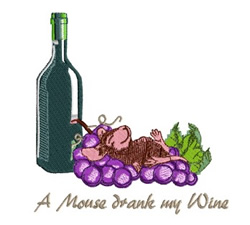 Mouse Drank My Wine embroidery design