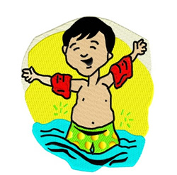 Little Boy In Pool embroidery design