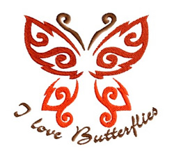 I Love Butterflies embroidery design