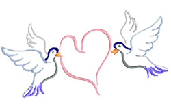Doves Carrying A Heart embroidery design