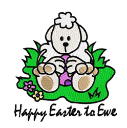 Happy Easter To Ewe embroidery design