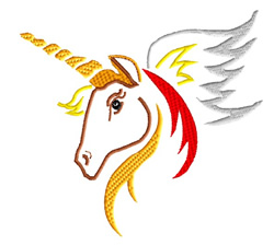 Fiery Unicorn embroidery design