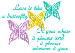 Like A Butterfly embroidery design