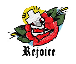 Rejoice embroidery design