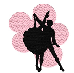 Ballet With Pink Flowers embroidery design
