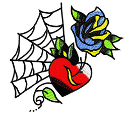Rose On Spider web embroidery design