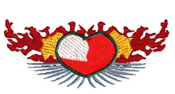 Heart With Flames embroidery design