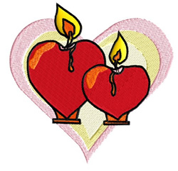 Hearts And Candles embroidery design