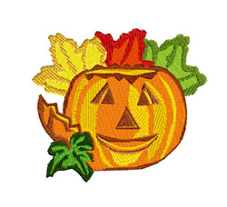 Pumpkin With Leaves embroidery design