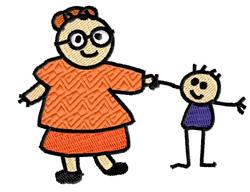Grandma With Stick Kid embroidery design